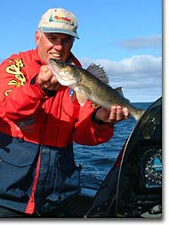Pro angler Leon Houle shows off a nice Mille Lacs walleye.
